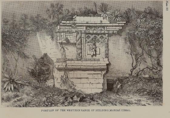 fachada Oeste Casa de las Monjas(notar gran parte estaba derruida)dibujo de Frederick Carterwood